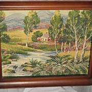 Vintage 1930's-40's Barkcloth Picture in Original Frame