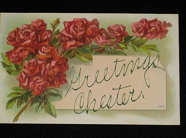 "Antique 1909 ""Greetings Chester"" Post Card with Bunches of Red Roses"