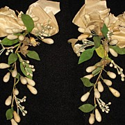 SOLD Pair of Antique C. 1800's French Wax Wedding Corsage's