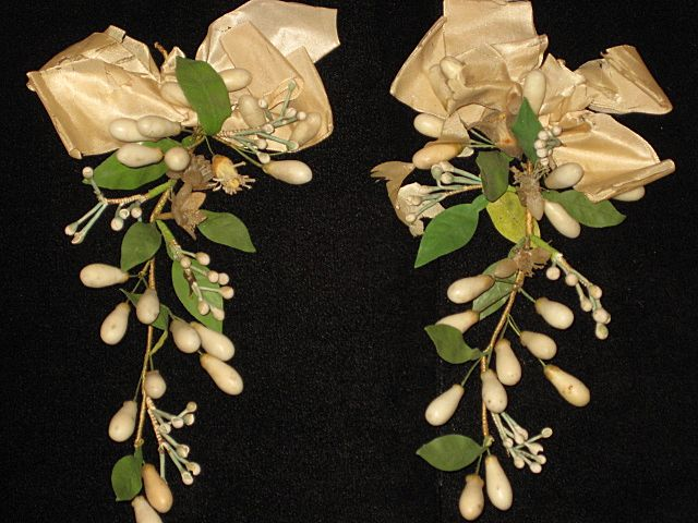 Pair of Antique C. 1800's French Wax Wedding Corsage's
