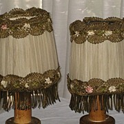 Pair of 1920's French Silk Chiffon Lampshades w/Heavy Gold Metallic Trim & French Ribbon ...