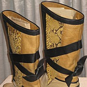 Vintage Pollini, Italy Python & Leather Boots with Leather Ties-Size 6 ½ A or AA-Never Used