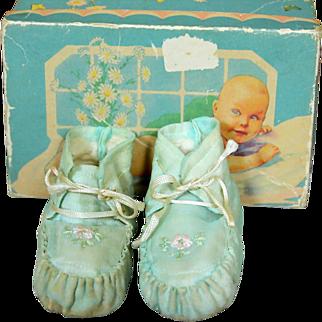 SALE Darling Vintage Silk Booties in Box