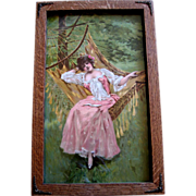 SOLD c1893 Lady Hammock Print Roses Half Yard Long Chromolithograph Springtime