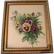 SOLD c1890s Pansies Print Paul de Longpre  Chromolithograph Gold Frame Book Author Authographe