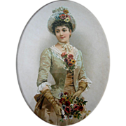 SOLD Antique Lady Print Roses Chromolithograph Flowers Gloves Hat Victorian