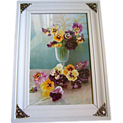 SOLD c1894 Pansies Print Henri LeRoy Chromolithograph Half Yard Long Pansy Flower Floral Chrom