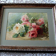 Antique Cabbage Roses Print Emma Aulich Chromolithograph c1903