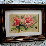 c1890s Pink Roses Print Catherine Klein Chromolithograph Postcard Floral Flower Rose