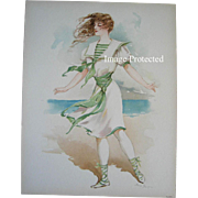 SOLD c1908 Bathing Suit Costume Girl Beach Print Ocean Maud Stumm Chromolithograph Gray Litho
