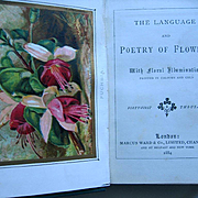 c1884 Language Poetry of Flowers Book 6 Color Plates Floral Illuminations Rose Pansy Fucshia Azalea Carnation Flower Floral Chromolithograph