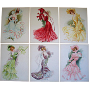 SOLD Six LADY Print s Maud Stumm New York Showgirls Fashion Hat Chromolithographs Very Fine Um