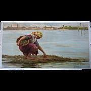SOLD c1895 Sea Tide Ocean Scene PRINT Paoletti Lady Shell Chromolithograph Half Yard Long Anti