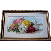 c1895 Chrysanthemums Print Paul de Longpre Fall Beauties Half Yard Long Chromolithograph Flowe