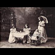 SOLD c1899 Girl Doll Parasol Stroller Tea Print Antique Lithograph Ullman