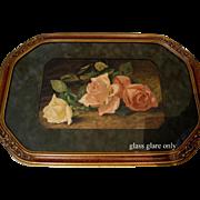 c1891 Cabbage Roses Print Patty Thum Ornate Barbola Frame Half Yard Long Chromolithograph
