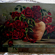 Roses Painting Oil on Canvas c1890s Antique Victorian Signed Rose Flower