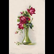 c1890s Scarlet Cabbage Roses Print Catherine Klein Antique Victorian Print Rose Flower