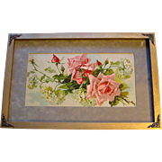 c1890s Catherine Klein Pink Cabbage Roses Hydrangeas Print Half Yard Long Chromolithograph ...