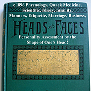 c1896 Phrenology Book Heads and Faces How to Study Them Quack Medicine Book Insanity Idiocy Ne