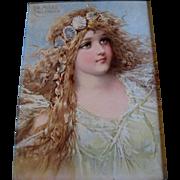 c1890s Frances Brundage Mermaid Girl Lady Sea Shell Chromolithograph Print Ocean Antique ...