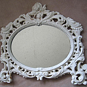 c1920s Roses Mirror Cast Iron Oval Fancy Filigree Vintage