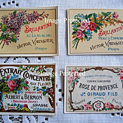 c1890s Four French Perfume Paper Labels ROSES LILACS Paris Advertising Gilt Soap Print Label M