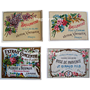 c1890s Four French Perfume Paper Labels ROSES LILACS Paris Advertising Gilt Soap Print Label .