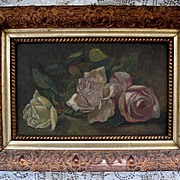 c1890s Antique Roses Painting Victorian after Patty Thum Ornate Gesso Frame Rose Flower Floral