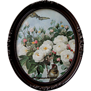 Vintage French Bridal Roses Butterfly Bird Print Paul de Longpre Barbola Rose Frame Bride Rose