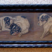 Three Puppy Yard Long Oil Painting Jack Russell Terrier Panel Original Frame Dog Dogs Puppy An