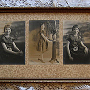 Girl Yard Long Photograph Print s Fashion Clothing Original Frame Old Glass