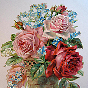 c1890s Cabbage Roses Die Cut Roses Print Rose Forget Me Not Lily of the Valley Flower Floral D