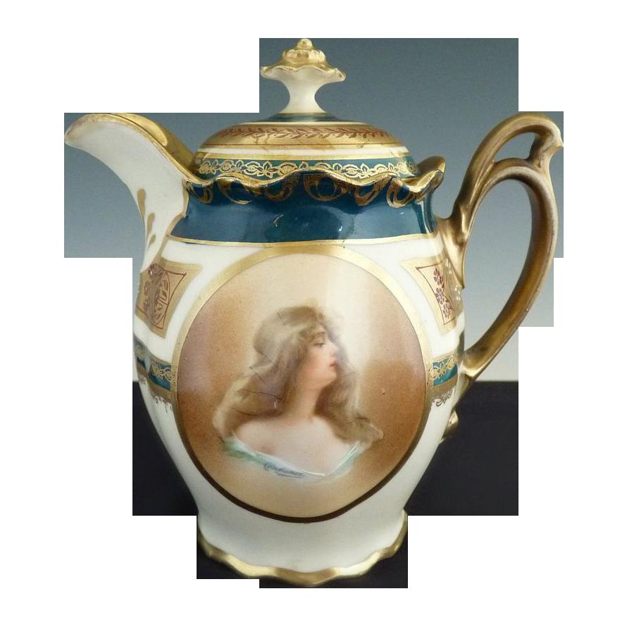 Antique portrait syrup pitcher MZ Austria Wheelock fine porcelain