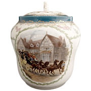 Antique cracker jar stagecoach portrait PH Leonard Austria c. 1898