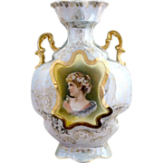 Antique porcelain portrait vase ES Prussia Woman in Daisy Crown gold