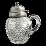 Antique cut glass jam jelly pot silver lid