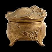 Antique ring box ormolu spelter Art Nouveau