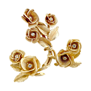 Vintage rose brooch earrings rose bouquets AB rhinestones
