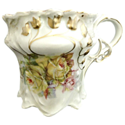 Antique shaving mug yellow roses gold lily of the valley Germany c. 1880s