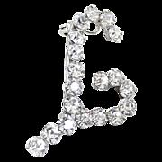 Vintage sterling initial brooch pendant L crystal rhinestones