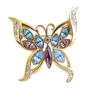 Vintage butterfly brooch navette colored rhinestones