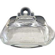 SOLD Vintage glass butter dish embossed meadow scene