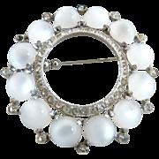 Vintage moonstone brooch crystal rhinestones