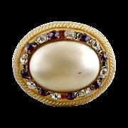 Antique  hat pin pearl rhinestone extra long gilt brass