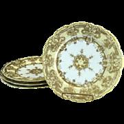 Gold moriage porcelain plates snowflakes flowers c. 1900