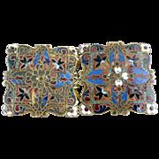 Antique belt buckle Basse-Taille enameling