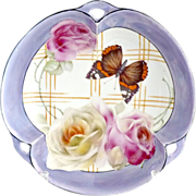 Vintage porcelain bowl butterfly and roses Prussia Germany Prov Sxe