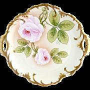 Antique porcelain platter cake plate American Beauty roses signed Royal Munich