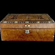 Victorian writing set lap desk inlaid wood mother of pearl original inkwells